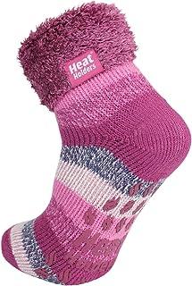 Warm Winter Thermal Lounge Socks - Pink Stripe/Antique Flourish Stripe