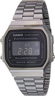 Casio Unisex-Adult Quartz Watch, Digital Display and Stainless Steel Strap A168WGG-1BDF