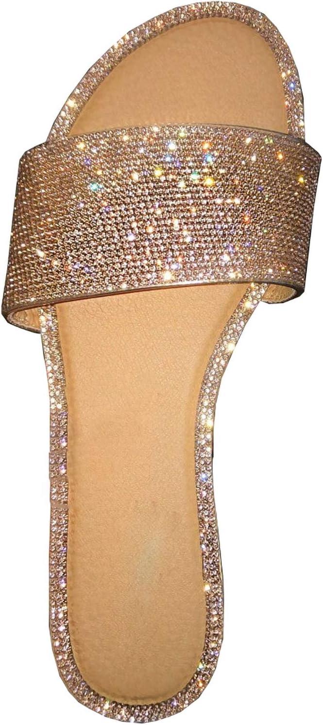 Rhinestone New item Sandals OFFicial site Women's Flat Beach Sa Jeweled