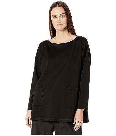 Eileen Fisher Organic Cotton Stretch Jersey Bateau Neck Tunic (Black) Women