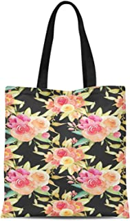 S4Sassy Purple Leaves & Ranunculus Floral Printed Canvas Large Tote Bag for Beach Shopping Groceries Books 16x12 Inches