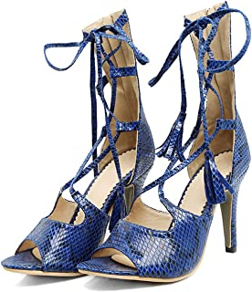 Collocation-Online slides-sandals Women Shoes Summer Serpentine pu Zip and Lace-up Super high Thin Heel Large Size Sexy Sandals