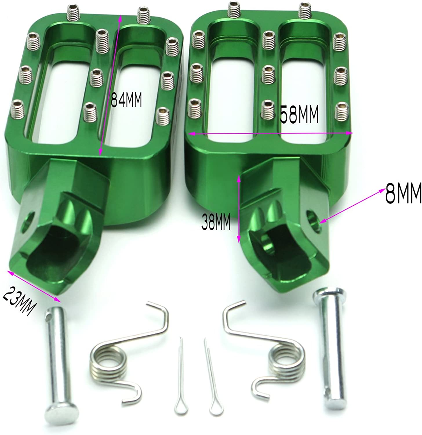 CNC Foot Pegs Rests Pedals For KAYO Xmotor Apollo Green