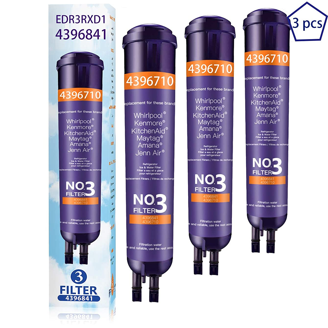Ice Word 46/9030 9030 Ken-More Refrigerator Water Filter Replacement 46/9083 9083 Refrigerator Water Filter 46/9020 9020 Filter Z3 Purple(3-Pack )
