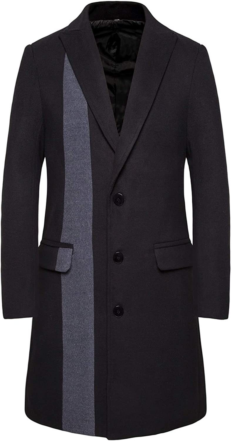 WSIRMET Men's Fashion Color Block Single Breasted Wool Blend Lapel Stand Collar Pea Coat Warm Winter Coat