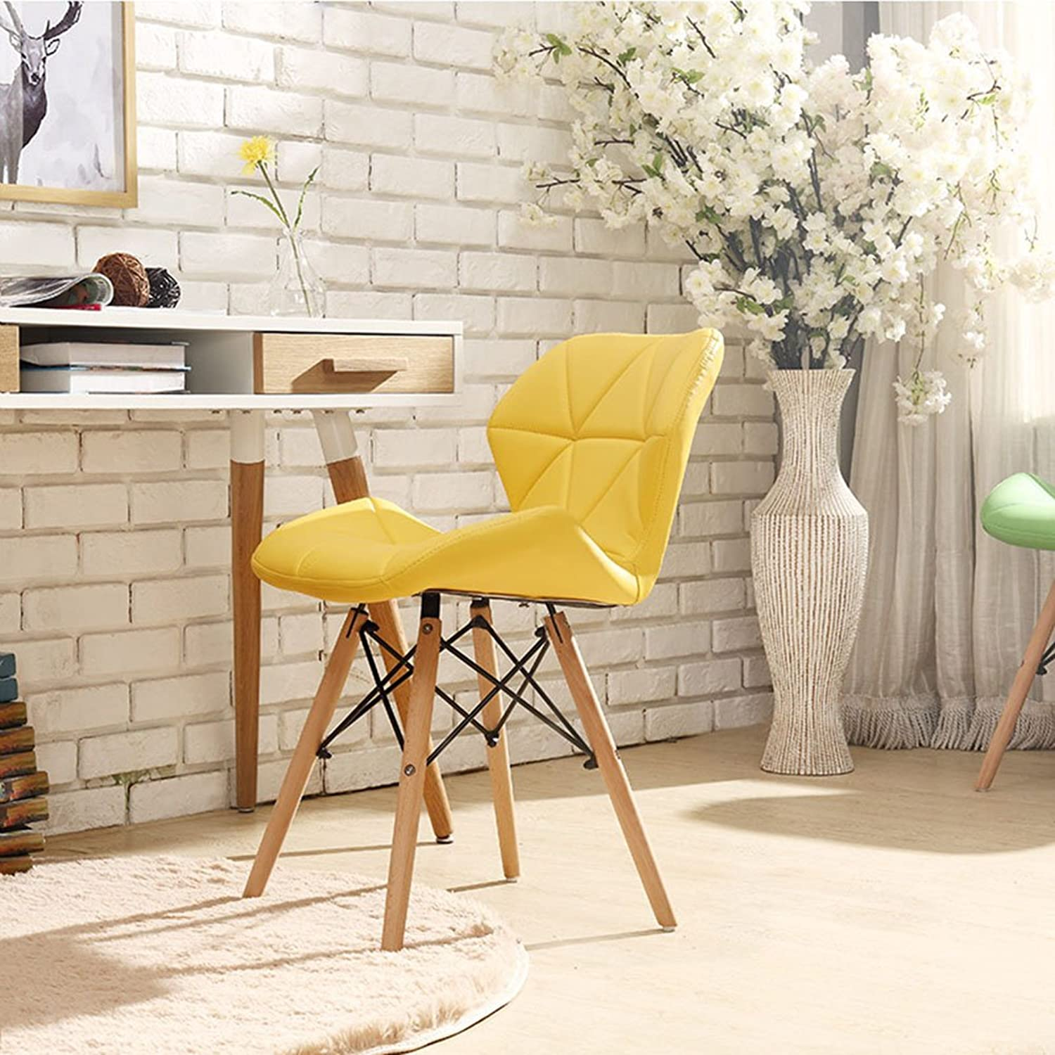Dining Chairs Seat Chair Desk Chair Household Restaurant Backrest Computer Chair Northern Europe Office Tingting (color   Yellow)