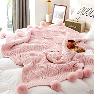 Chenille Plush Throw Blanket, Luxurious Lovely Lounge Cover Knitted Blanket with Handmade Pom Poms for Sofa/Bed/Couch/Living Room/Office(51.18