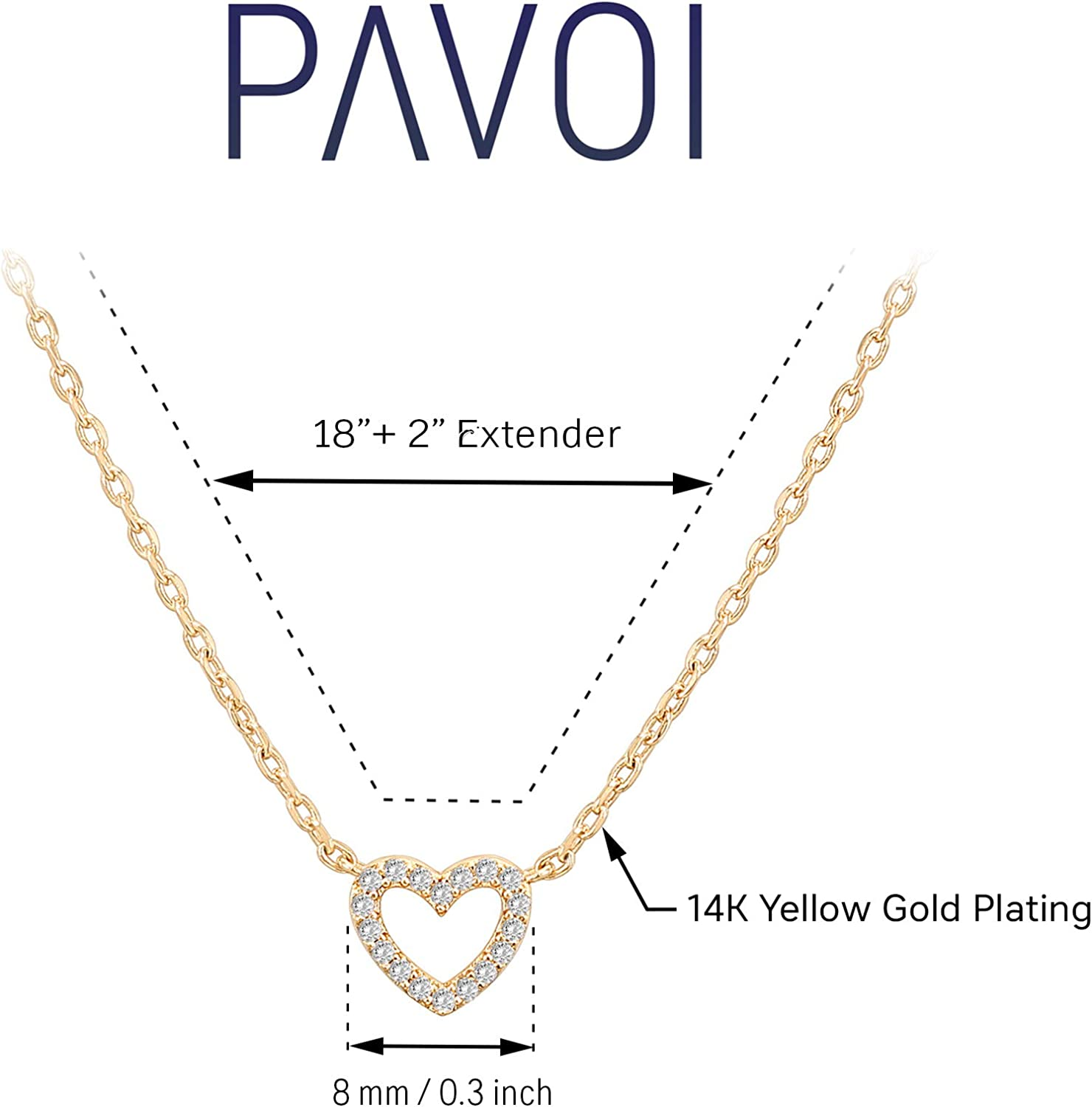 PAVOI 14K Gold Plated Heart Pendant Layered Necklaces Gold Necklaces for Women 18 Length with a 2 Extension