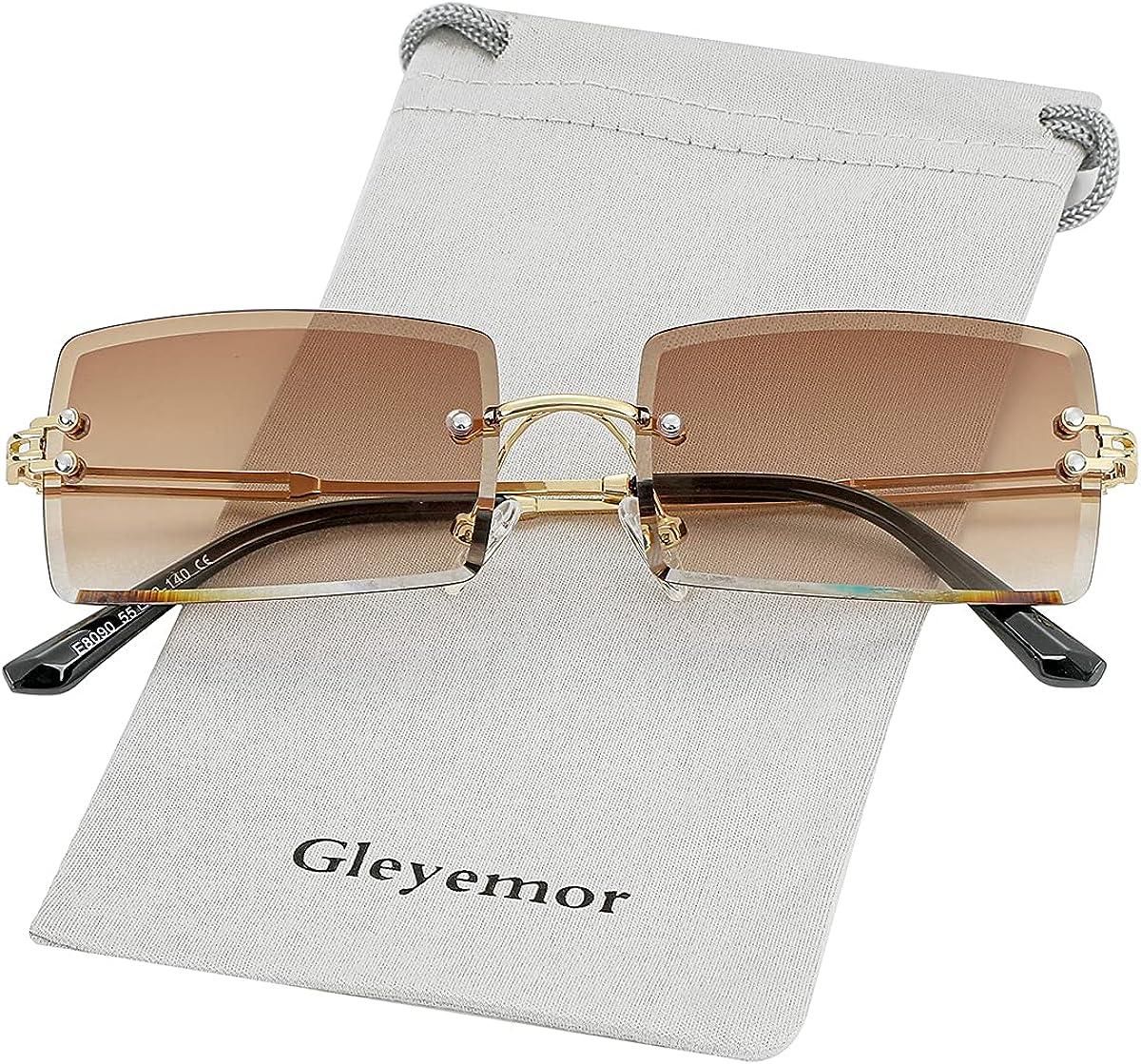Ranking TOP1 Gleyemor Rimless Rectangle Sunglasses Max 64% OFF for Men Women Fashion Fram