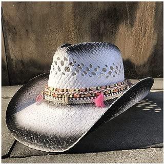 LiWen Zheng Handmade Straw Western Cowboy Hat Summer Womem Men Cowgirl Fedora Jazz Hat Beach Sombrero Hombre Lifeguard Sun Hats Tassel Band Size 56-58CM