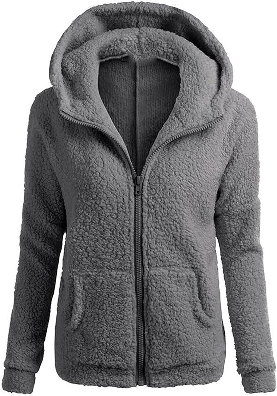 Muxing Womens Fleece Jackets Faux Fur Hooded Long Sleeve Warm Zipper Coats Outwear Shaggy Jacket