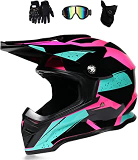 Motocross Helm Damen Pink Schwarz mit Brille/Handschuhe/Maske, Motorrad Crosshelm Adult Fullface-Helm Motorradhelm Enduro MTB Off Road Downhill Mountainbike BMX Bike ATV Cross-Country