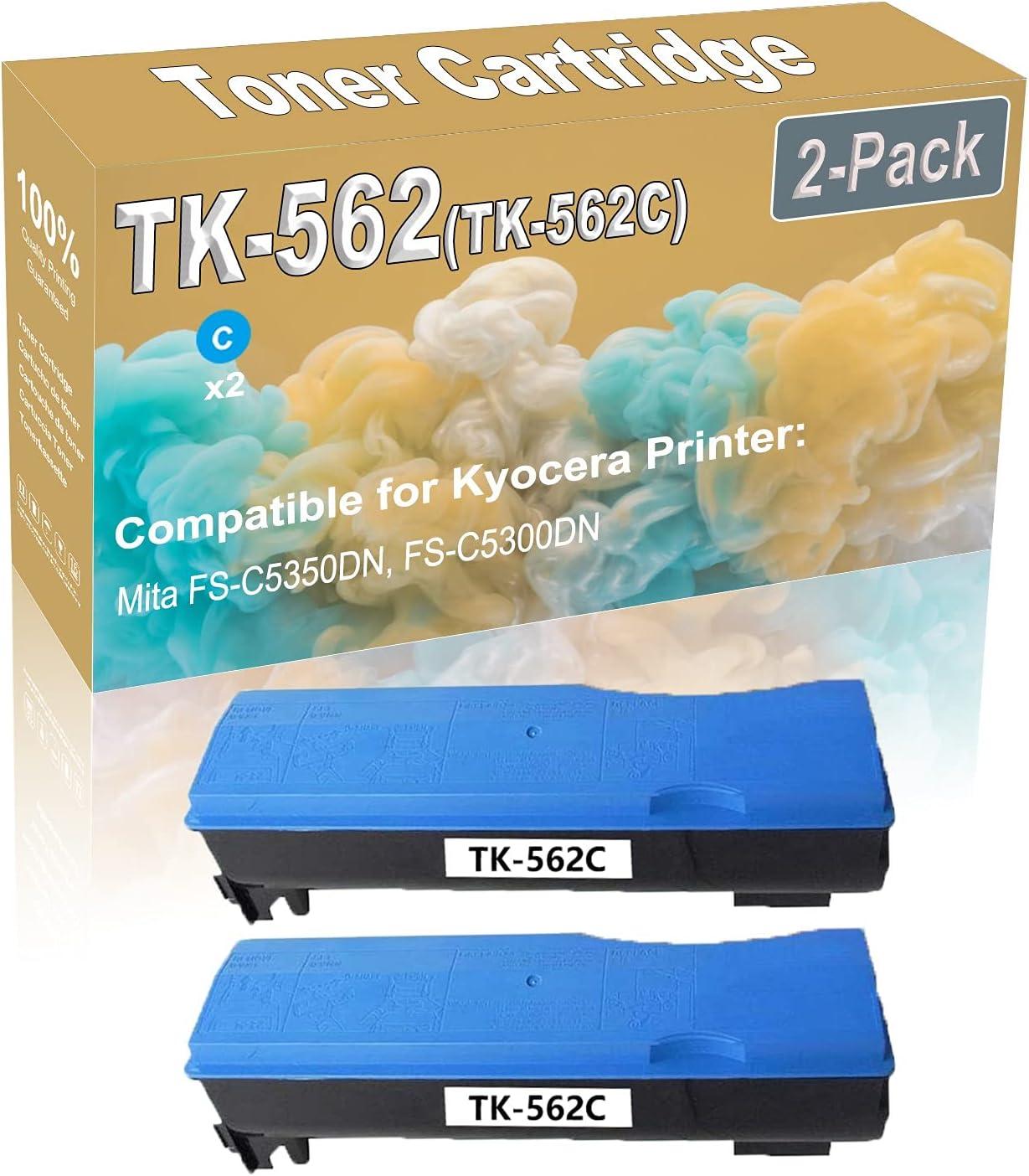 2-Pack (Cyan) Compatible Mita FS-C5350DN Laser Toner Cartridge (High Capacity) Replacement for Kyocera TK-562 (TK-562C) Printer Toner Cartridge