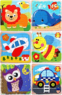 Puzzles Toys for Kids for Age 3-5, 16 Pieces Vibrant Wooden Animals & Vehicle Kids Educational Puzzles for Toddlers, Set of 6 Preschool Puzzle Autism Children Puzzles Learning Toys