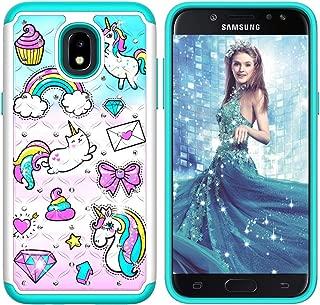 CASE4YOU 3D Bumper Case for Samsung Galaxy J7 2018 Case, Galaxy J7 Refine/ J7 Star/ J7 V 2nd Gen, Bling Diamond TPU PC Shockproof Shell Full Body Protection Defender Glitter Back Cover Unicorn