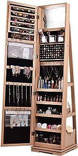 Armoire à Bijoux avec Miroir Organisateur Bijoux Cabine De Bijoux En Miroir En Plein Écran Armoire De Bijoux Pour Femmes P...