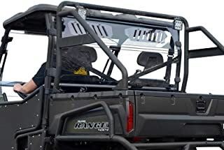 SuperATV Heavy Duty Clear Vented Rear Windshield for Polaris Ranger Full Size 800 / Crew / 6x6 - (2010-2016) - Protection From Flying Debris
