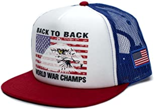 Back To Back World War Champs Eagle Unisex-Adult Cap -One-Size Royal/White/Red Flat