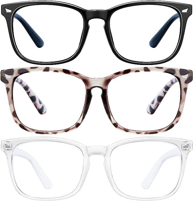 SoHattp Blue Light Blocking Glasses for Women Man - 3Pack Computer Game Glasses Square Eyeglasses Frame