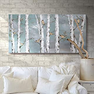 Ejart Large Tree Wall Art Hand-Painted Landscape Forest Oil Painting Gallery Wrapped Framed Canvas Bird Birch Artwork 'White Birch at Night' for Living Room Bedroom Office Décor Teal White 48