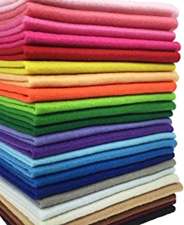 24pcs Thick 1.4mm Soft Felt Fabric Sheet Assorted Color Felt Pack DIY Craft Sewing Squares Nonwoven Patchwork (2525cm)