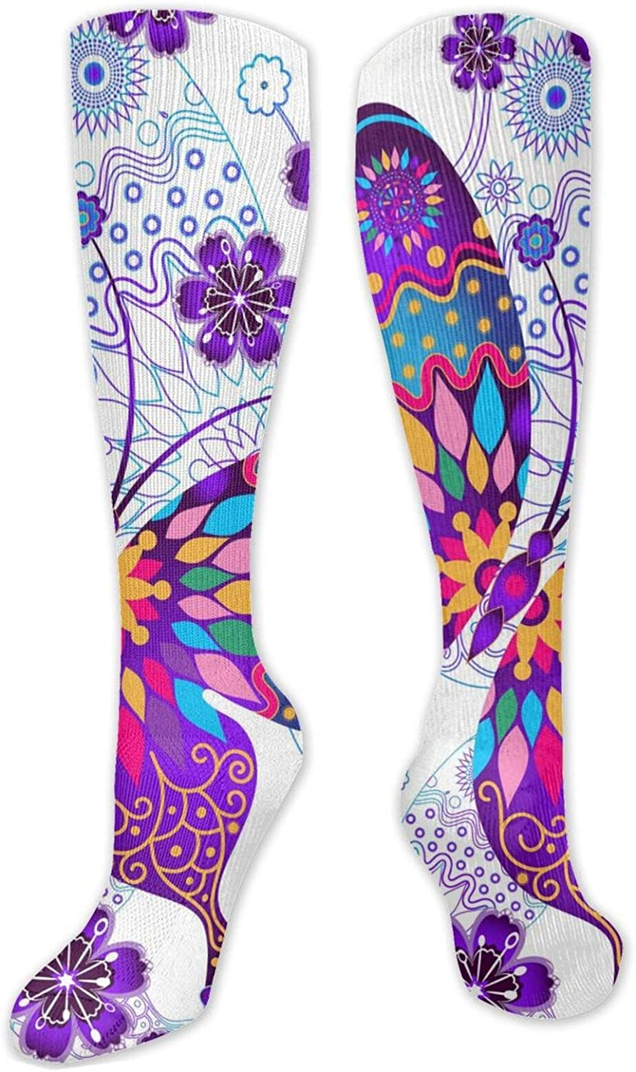 Purple Wings Colorful Butterfly Knee High Socks Leg Warmer Dresses Long Boot Stockings For Womens Cosplay Daily Wear