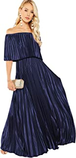 Milumia Women's Off The Shoulder Layered Ruffle Party Maxi Dress