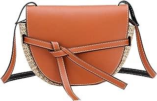 Ladies Straw-Studded Shoulder Bag Bow Tie Diagonal Bag Leather Simple Solid Color Bag