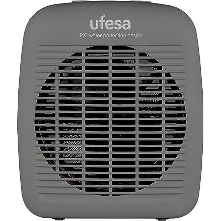 Ufesa CF2000IP - Calefactor Vertical 2000W, con Protección IP21, Sistema Seguridad Antivuelco, 3 Modos: 2 Niveles de Potencia y Función Ventilación, Termostato Regulable, Silencioso