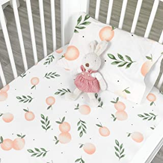 HOT Sale - Designthology (U.S.) Printed 100% Cotton Muslin Fitted Crib Sheet for Standard Crib and Toddler Mattresses for Baby Girls, Orange