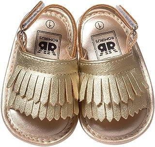 Sandalias de piel antideslizantes para bebés y niñas, suela suave con borla para verano