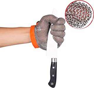 ThreeH Cut Resistant Gloves Stainless Steel Mesh Gloves for Butchers,Restaurant Work,Meat Processing,Slicing,Chopping GL08 XL(One piece)