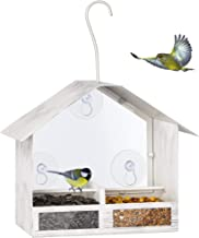 BOLITE 18020 Bird Feeder 2-Way Feeders Window Bird Feeder with Strong Suction Cups Hanging Bird House for Outdoors, Retro White, 1 lbs