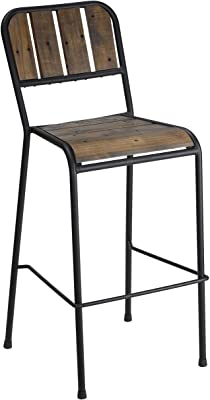 Cortesi Home CH-BS624938 Jayden Industrial Style Bar Stool with Black Metal Frame, 30