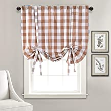 Annlaite Buffalo Checker Thermal Insulated Blackout Curtain Adjustable Tie Up Shade Rod Pocket Panel for Small Window Single 45 Inch by 63 Inch Taupe