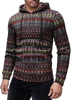 PASATO Men Casual Color Block Stripe Autumn Winter Pullover Top Blouse Sweatshirt