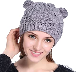 Owlgift Womens Winter Thick Cable Knit Beanie Hat Cat Ear Crochet Braided Knit Caps