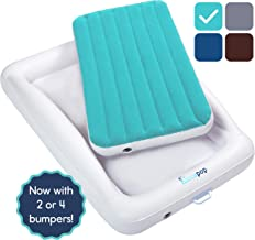 hiccapop Inflatable Toddler Travel Bed with Safety Bumpers | Portable Blow Up Mattress for Kids with Built in Bed Rail - Teal Blue