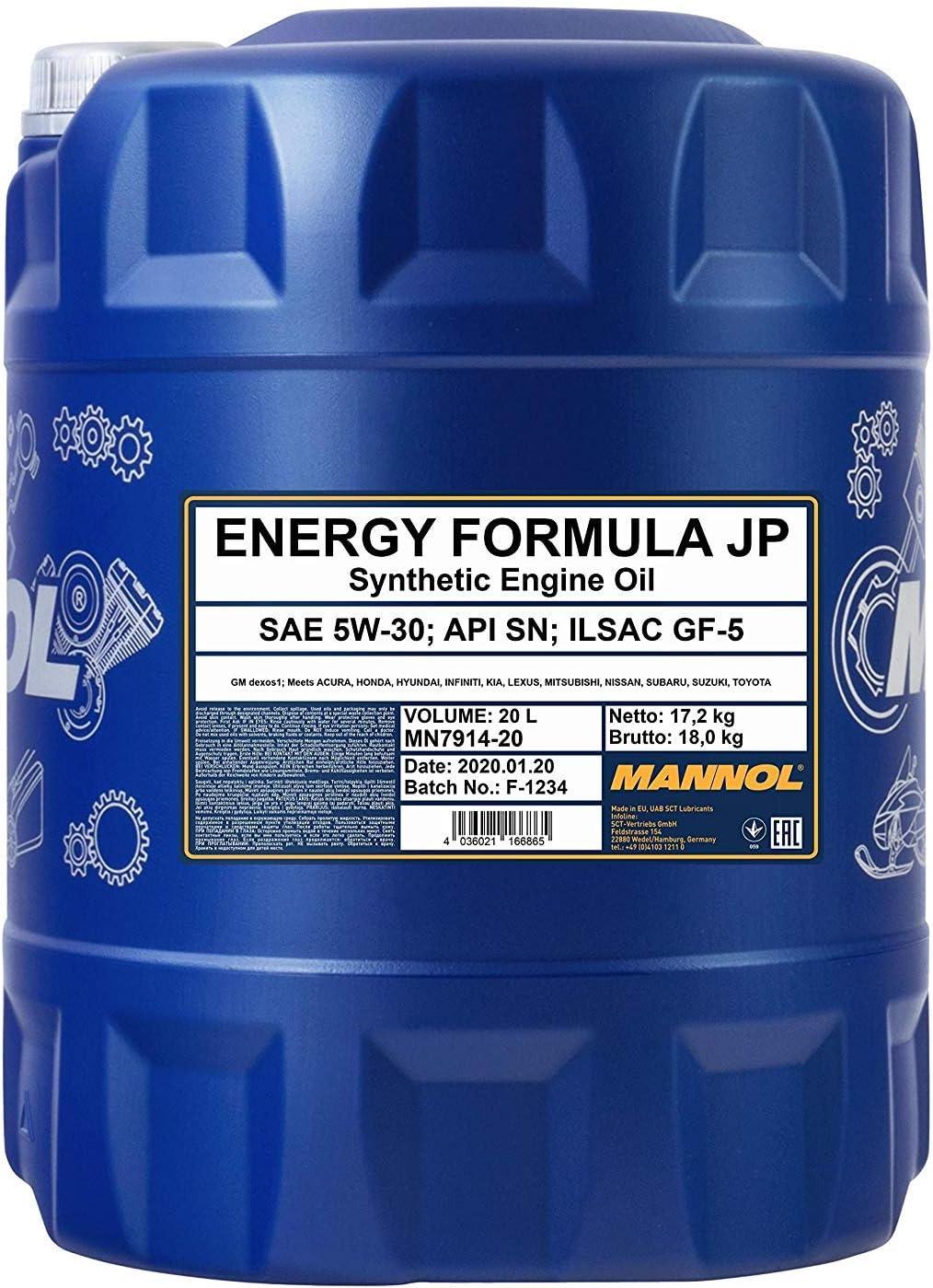 Mannol Energy Formula Jp 5w 30 Api Sn Motorenöl 20 Liter Auto