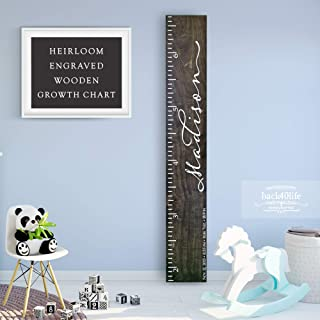 Wooden Kids Growth Chart Ruler for Boys and Girls Painted or Engraved (The Madison) Back40Life