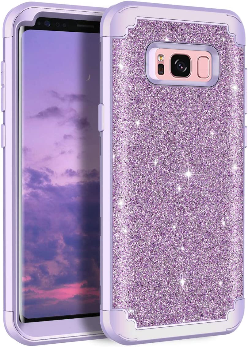 Casetego Compatible with Galaxy S8 Case,Glitter Sparkle Bling Three Layer Heavy Duty Hybrid Sturdy Shockproof Protective Cover Case for Samsung Galaxy S8,ShinyLight Purple