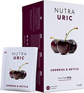 NUTRAURIC - Uric Acid Cleanse and Kidney Support – Kidney Cleanse Tea – Includes Cherry, Nettle & Turmeric - 20 Enveloped ...