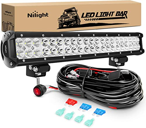 Nilight ZH006 Bar 20Inch 126W Spot Flood Combo Led Off Road Lights with 16AWG Wiring Harness Kit-2 Lead, 2 Years Warr...