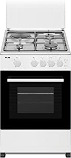 Akai 50 X 50 cm, 3 Gas + 1 Hotplate and Gas Oven, Free standing Cooker, Stainless Steel Top, White Body - CRMA-503GHP, 1 Year Warranty