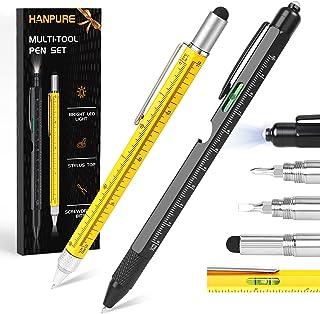 هدایای قلم چند ابزار HANPURE برای مردان 2PC هدیه چند ابزار سرد برای تولد پدر ، روز پدران ، ولنتاین ، اسباب بازی های ساختمانی با نور LED ، قلم های کار با صفحه نمایش لمسی قلم بازکن بطری