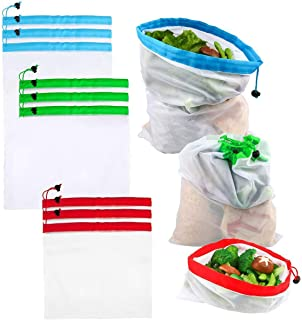 RAVCON 9 PCS Reusable Premium Eco-Friendly Mesh Produce Bags, Washable Breathable Transparent Mesh Produce Bags Fit Shopping/Storage/Collection, Red, Blue, Green