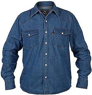 Mens Duke London Western Fashion Stonewash Denim Shirt