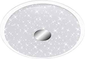 Briloner - Lampada a LED in plastica da soffitto con luce regolabile, 24W, colore bianco/cromato, 46x 46x 6,7cm