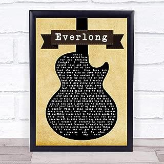 Everlong Black Guitar Song Lyric Quote Print