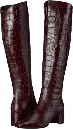 Dark Red Croc Print Leather